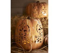 Punched Ceramic Pumpkin Luminaries | Pottery Barn