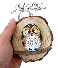 Wonderful 3-D Artwork with Owl Painted on a Pebble in a Tree Trunk Section | Original Art by Owl Sweet Owl  My hand painted 3-D paintings are unique pieces of art! Ready to hang, they are made with painted pebbles, twigs and smooth marble hearts. I paint them using high quality acrylics and each element is stuck with a power glue.  All designs are created with my imagination. They are protected with a mat varnish coat and are signed and accompanied by a Certificate of Authenticity…