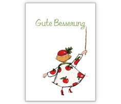 Genesungskarte: Gute Besserung - http://www.1agrusskarten.de/shop/genesungskarte-gute-besserung-2/    00018_0_1451, Apfel, Besserung, Frau, Genesung, Gesundheit, Grußkarte, Illustration, Klappkarte00018_0_1451, Apfel, Besserung, Frau, Genesung, Gesundheit, Grußkarte, Illustration, Klappkarte