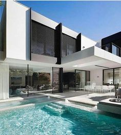 Modern architecture house design with minimalist style and luxury exterior and interior and using the perfect lighting style is inspiration for villas mansions penthouses Modern Mansion, Modern Homes, Luxury Homes Dream Houses, Dream House Exterior, Exterior Houses, Dream Home Design, Best Modern House Design, House Goals, Home Fashion