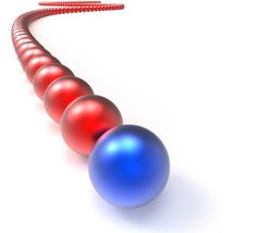 Free Image With No Backlink Required - Leading Metallic Balls In Chain Showing Leadership
