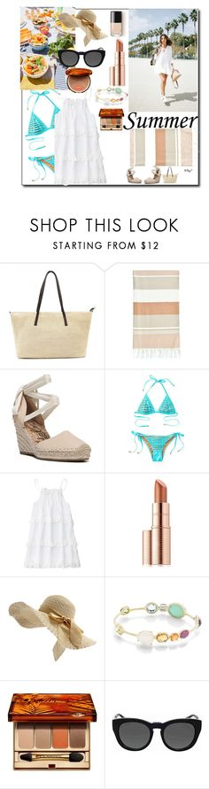 """Summer beach party"" by sarahgarza15 ❤ liked on Polyvore featuring Linum Home Textiles, Sam Edelman, Beach Bunny, Once Upon a Time, Estée Lauder, Ippolita, Clarins and Michael Kors"