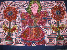 Mola Girl holding her bird Kuna Woman Mola #1164