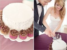 cutting the cake... cute wedding pic and love the simple cake with cupcakes around it!!