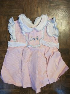 Vintage Baby Girl Dress Red Whtie Check w Blue Trim 12 Months? Great for Dolls c