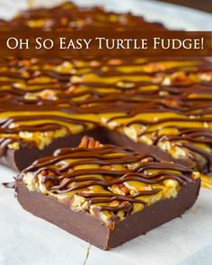 "Turtle Fudge - an ""Oh So Easy"" recipe. A decades old easy and foolproof fudge recipe gets topped by crunchy toasted pecans, melted caramel candy and rich chocolate. The post Turtle Fudge – an. Rock Recipes, Candy Recipes, Dessert Recipes, Pecan Recipes, Foolproof Fudge Recipe, Easy Turtle Fudge Recipe, Easy Caramel Fudge Recipe, Turtle Recipe, Easy Fudge"