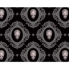Gothic wallpaper skulls  liked on Polyvore featuring home, home decor,  skull home decor