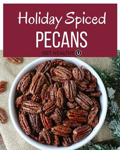 This recipe for Holiday Spiced Pecans is easy to make, dairy-free, gluten-free, vegan and paleo-friendly, and made with just pecans, maple syrup and spices!