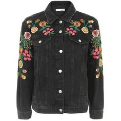 Topshop Moto Floral Embroidered Denim Jacket