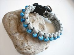 Small Beaded Dog Collar Blue Marble Steel Grey by k9knitknots, $20.00