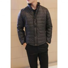 $29.54 Stylish Stand Collar Cotton Liner Stripe Design Long Sleeves Polyester Coat For Men