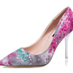 Womens Beautiful Close Toe Floral Print High Heels