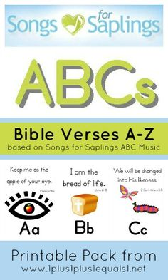 Songs for Saplings Printable Pack Bible verse for each letter of the ABCs