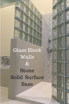 This glass block shower was premade in easy to install section. The stone solid surface shower pan was designed to fit the wall. Click through to learn more.