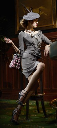 The Gray Suit.  Dior RTW Autumn(Fall) 2011 Look Book