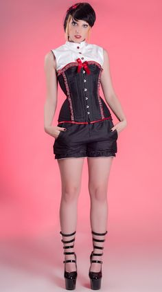 Halfbust denim corset with matching white vinyl back lacing vest from Miss Self.Destructive's Back to School winter collection and denim bloomers