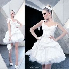 Rock and roll marie antoinette bride - short puffy ballgown style wedding dress with straps