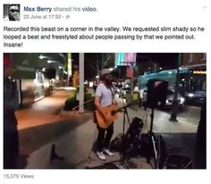 During one of his late night busking sessions, the Hip-Hop Troubadour received an Eminem song request but decided to do his own thing.