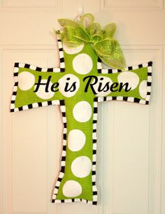 Easter Cross Burlap Door Hanger Christian Faith Decoration HUGE 2 ft  - Spring. $35.00, via Etsy.