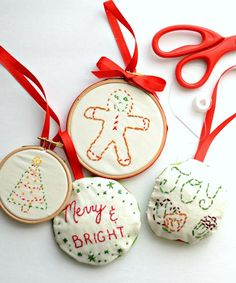Simple Embroidered Ornaments ~  Turn off the electronics, turn on the Christmas music, and sit and enjoy the simple pleasures of needlework