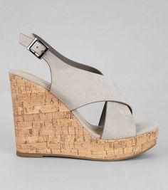 48ad98c2915 Grey Suedette Cork Wedge Heels