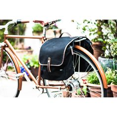 Double Pannier Bike Bag | Black and Brown