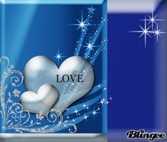 "PRETTY BLUE BACKGROUND WITH TWO HEARTS. ONE OF THE HEARTS READS ""I LOVE YOU.""."
