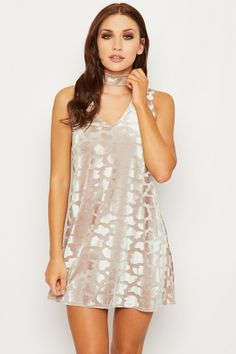 Valene Velvet Animal Choker Mini Dress