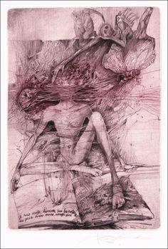 Karel Demel - Painter, grafic artist Lovecraftian Horror, Etching Prints, Macabre Art, Fantastic Art, Horror Art, Dark Art, Printmaking, Custom Canes, Cool Art