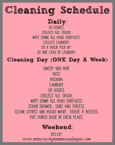 7 Days To A Clean House. A VERY detailed 7 day schedule!! Including cleaning tips!