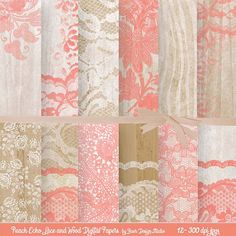 Pantone's Peach Echo Lace and Rustic Wood Digital Papers by Baer Design Studio.