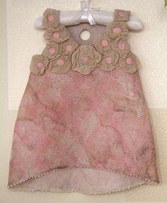 Nuno felting TUTORIAL pink felted flower dress baby girl detailed step by step felting instructions wet felting felt dress pattern felting