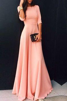 Maxi abito pianura manica gomito increspatura elegante rosa