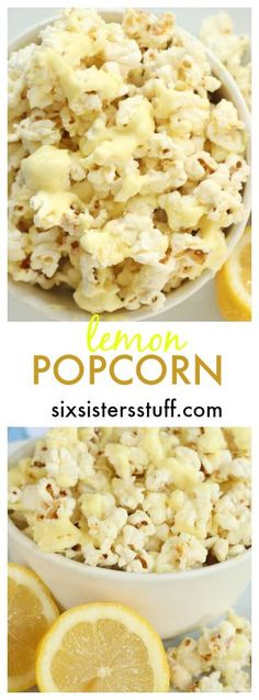 This Lemon Popcorn is so easy and so delicious! Find the recipe on SixSistersStuff.com