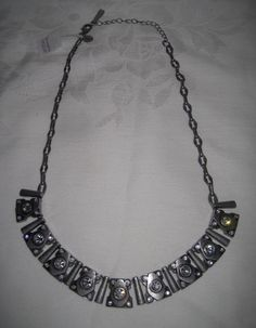 Lia Sophia MATRIX Necklace Bib Choker Pewter Antique Silver Tone Retired NWT #LiaSophia #Bib