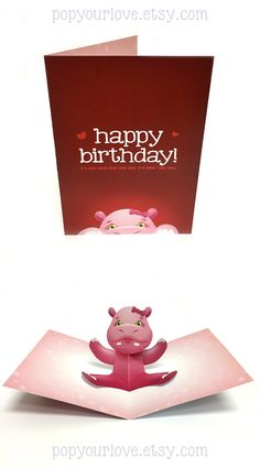 Cute birthday hippo popup card! Surprise friends and family with this special and adorable card! #etsy #birthday