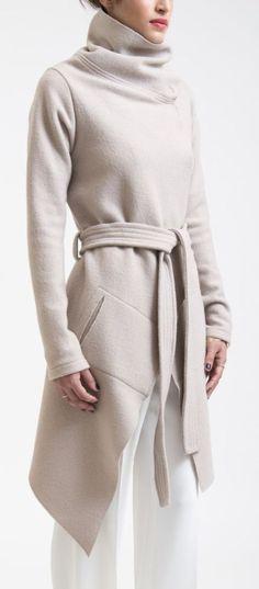 Cowl belted coat #fashionfallmens
