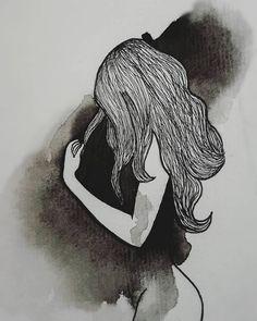 Couple Drawings, Love Drawings, Beautiful Drawings, Sad Girl Art, Sad Art, Broken Heart Drawings, Moon Drawing, Cute Love Pictures, Black And White Painting