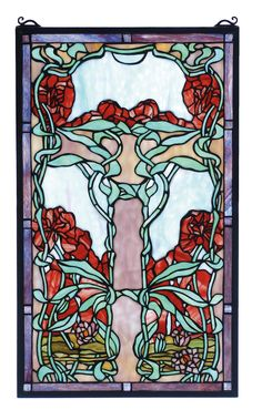 The Art Nouveau style is characterized by the images of leaves and flowers in flowing, sinuous lines. This Meyda Tiffany window depicts Flame Red lily flowers with Turquoise vines and leaves on a pale