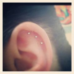 Triple ear piercing, love how tiny they are