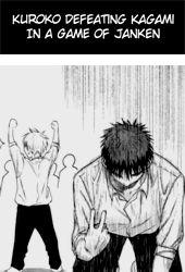 Kuroko defeating Kagami in a game of janken. (Janken is rock, paper, scissors, I think)