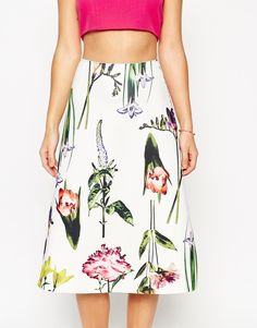 7ec52c92d39bb ASOS Midi Skirt In Scuba Fabric With Botanical Floral Print at asos.com