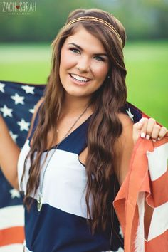 senior photography, flag, red, white, and blue american flag