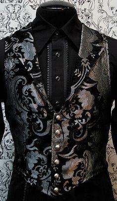 gothic velvet crested vest for men