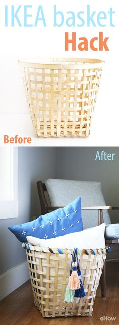 A cheap, run-of-the-mill basket is the perfect canvas for a colorful makeover. This $10 one from IKEA goes from boring to unique with colorful beaded trim and some adorable tassels. http://www.ehow.com/how_12342900_try-inexpensive-ikea-basket-hack.html?utm_source=pinterest.com&utm_medium=referral&utm_content=freestyle&utm_campaign=fanpage