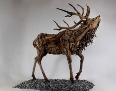 Oengus the Stag driftwood sculpture by James Doran Webb