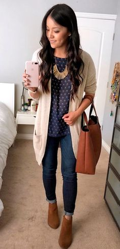 #winter #outfits  gray cardigan and blue denim jeans