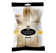 Posh Party Supplies - Metallic Gold Disposable Plastic Cutlery Combo, $4.25 (http://www.poshpartysupplies.com/posh-products/plastic-elegant-flatware/metallic-gold-plastic-cutlery/metallic-gold-disposable-plastic-cutlery-combo/)