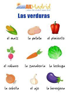 ¡Feliz día de la nutrición a todos! El verano se acerca y es muy importante comer frutas y verduras para mantenerse sano e hidratado. ¡Aprendamos cómo se llaman estas verduras!  #spanishschool #learnspanish #gramática