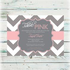 Printable Tickled Pink Baby Shower Invitation  by BeyondDigital